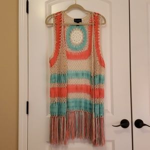 Crocheted open front Duster w/ fringe detailing